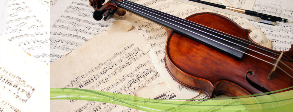 Violin and music sheets